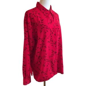 Notations Blouse Top Red Black Foliage Button XL